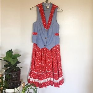 Vintage Western Bandana Denim 2-piece Suit